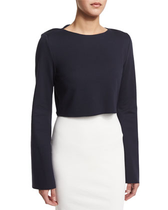 Ponte Long-Sleeve Crop Top
