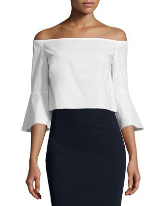 Off-The-Shoulder Crop Top, White