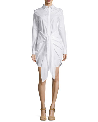 Long-Sleeve Tie-Front Shirtdress, White