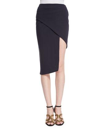 Ponte Spiral Pencil Skirt, Navy