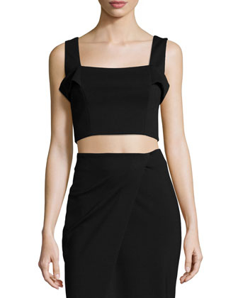 Ponti Sleeveless Crop Top, Black