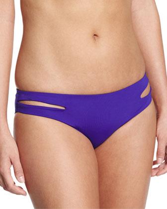 Estella Full-Cut Side-Slit Swim Bottom, Sapphire