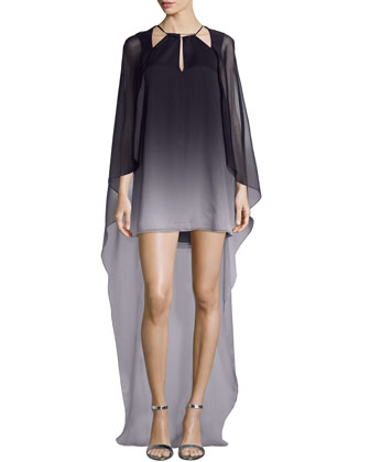 Halter Ombre Dress with Flowy Cape