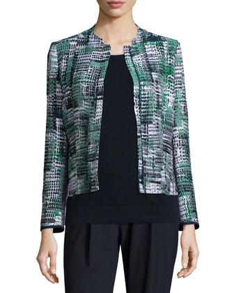Marcy Zip-Front Printed Jacket