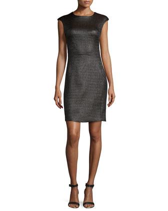 Chintz Cap-Sleeve Sheath Dress, Brown