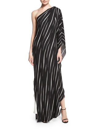 One-Shoulder Draped Striped Dress