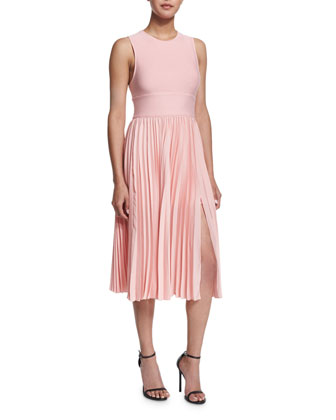 Sleeveless Crisscross-Back Pleated Dress