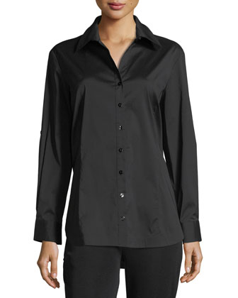 Long-Sleeve Button-Front Shirt, Women's