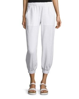 Rhonda Gathered-Ankle Jogger Pants, White