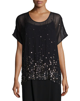 Short-Sleeve Dancing Sequined Top W/ Cami, Women's