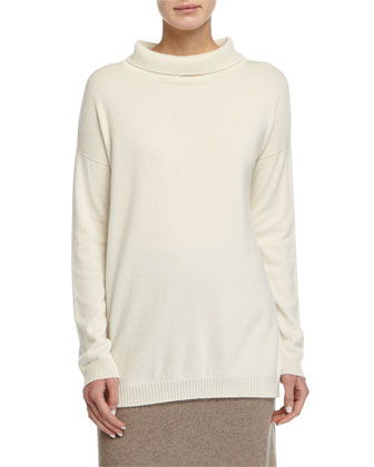 Long Cashmere Turtleneck Top