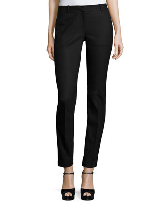 Miranda Wool-Blend Flannel Tux Pants, Black