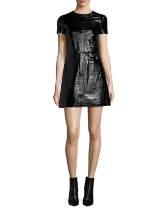 Short-Sleeve Patent Leather Dress
