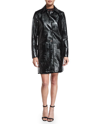 Macintosh Faux-Patent Leather Jacket & Sleeveless Jeweled-Neck Dress