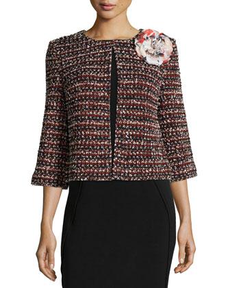 3/4-Sleeve Flower-Embellished Jacket, Black Multi