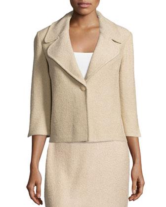 3/4-Sleeve One-Button Jacket, Camel Melange