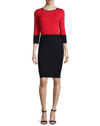 Colorblock Sheath Dress, Black/Venetian