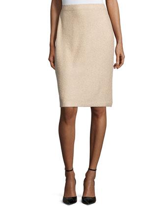 High-Waist Pencil Skirt, Camel Melange