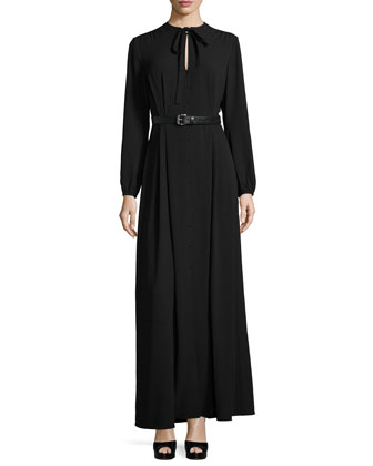Tie-Neck Belted Maxi Dress