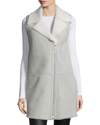 Zip-Front Lambskin Leather Vest, Gray/White