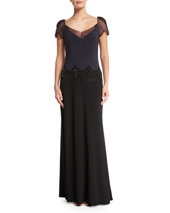 Embellished Colorblock Gown, Graphite/Black
