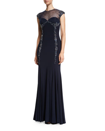 Embellished Sheer-Yoke Gown, Indigo