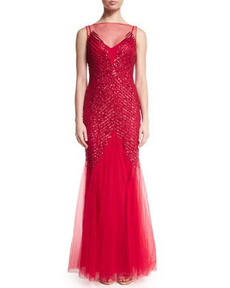 Sleeveless Embellished Gown, Red