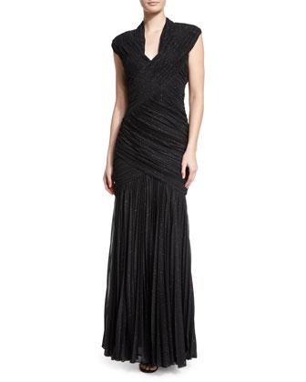 Ruched-Foil V-Neck Gown, Black