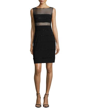 Sleeveless Mesh-Inset Beaded Dress, Black