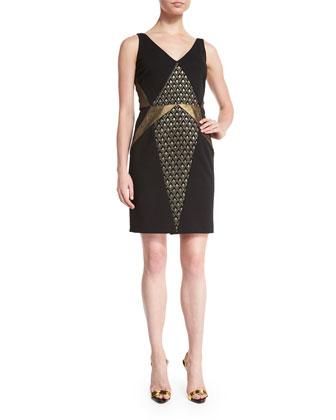 Sleeveless Metallic-Inset Dress, Black/Gold