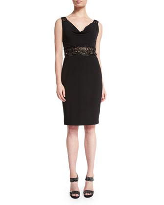 Embellished Cowl-Neck Dress, Black/Gold