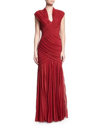 Ruched-Foil V-Neck Gown, Red