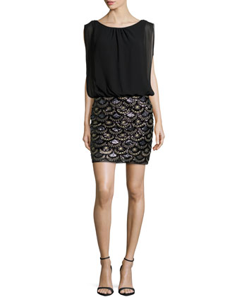 Boat-Neck Blouson-Top Sequined-Skirt Dress, Black