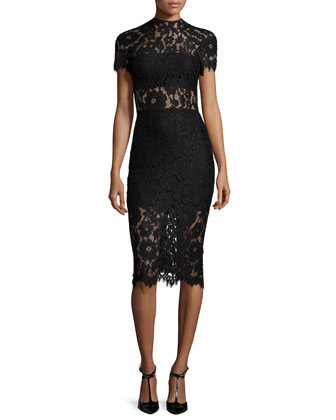 Leona Short-Sleeve Lace Sheath Dress, Black