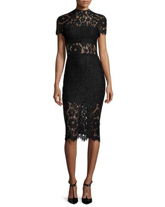 Leona Short-Sleeve Lace Sheath Dress, Black
