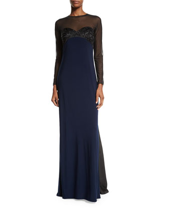 Embellished Two-Tone Gown, Black/Midnight