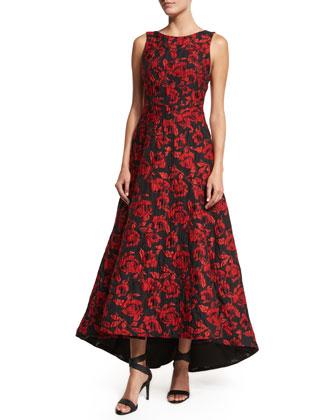 Sleeveless Brocade High-Low Dress