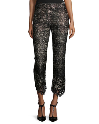 Alis Lace Slim-Leg Cropped Pants, Black
