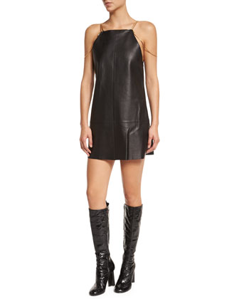 Zoya Sleeveless Leather Shift Dress, Black