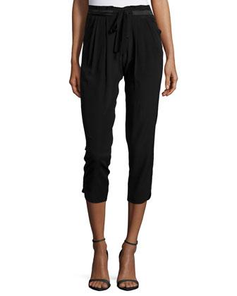 Allyn Drawstring-Waist Jogger Pants, Black