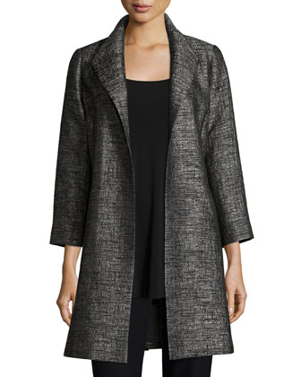 Faceted Jacquard Coat, Long Silk Jersey Tunic & Washable-Crepe Straight-Leg ...