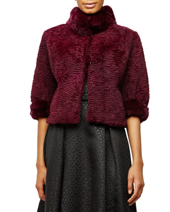 Half-Sleeve Rabbit Fur Cropped Jacket