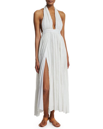 Metallic Plunge-Neck Wrap Coverup Dress