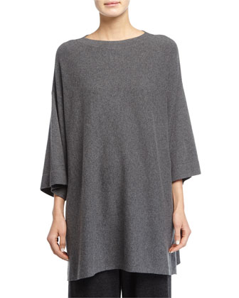 3/4-Sleeve Luxe Wool Top, Plus Size