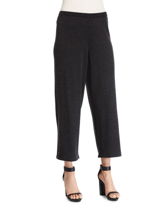 Merino Jersey Cropped Pants, Plus Size
