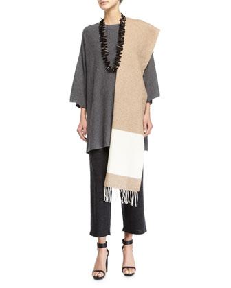 Long Washable Cardigan, Sleeveless Bateau-Neck Shell, Blanket Colorblock ...