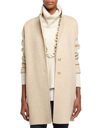 Two-Button Oversized Blazer, Turtleneck Cowl-Neck Box Top, Sleeveless Silk ...