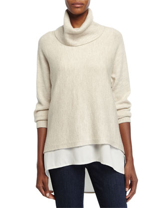 Turtleneck Cowl-Neck Box Top