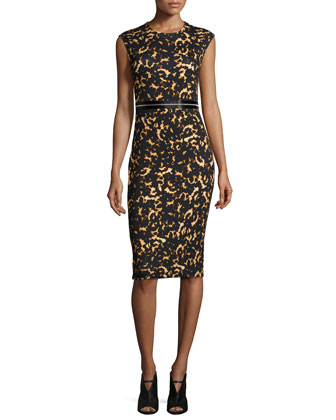 Printed Bodycon Zip Dress, Black