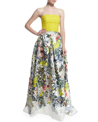 Strapless Lace & Floral-Print Gown, Yellow